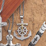 two tone anchor crucifix pendant