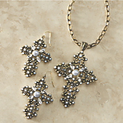 crystal and faux pearl cross jewelry