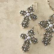 Crystal and Faux Pearl Cross Earrings