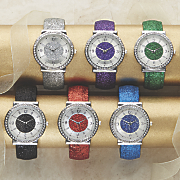 glitter and crystal bangle watch