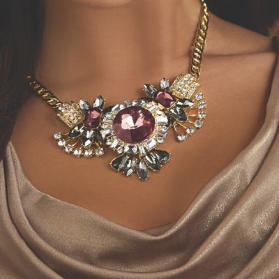 Burgundy, Gray & Clear Crystal Necklace