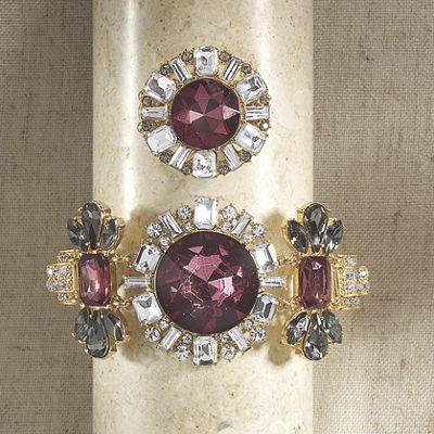 Burgundy, Gray & Clear Crystal Bracelet