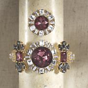 burgundy  gray   clear crystal bracelet