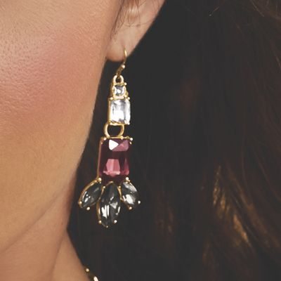 Burgundy, Gray & Clear Crystal Earrings