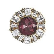 burgundy  gray   clear crystal stretch ring