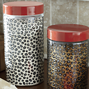 Set of 3 Cheetah-Print Canisters
