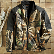 black trim soft shell camo jacket