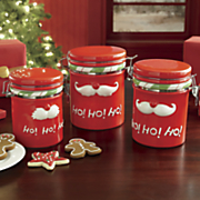 Set of 3 Holiday Mustache Canisters