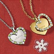 name birthstone double heart pendant
