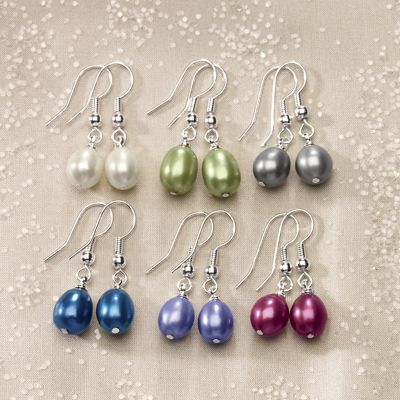 6-Pair Freshwater Pearl Multicolored Earring Set