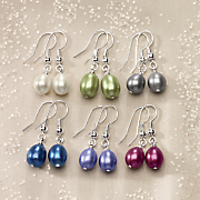 6 pair freshwater pearl multicolored earring set