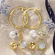 3 pair reversible hoop post earring set
