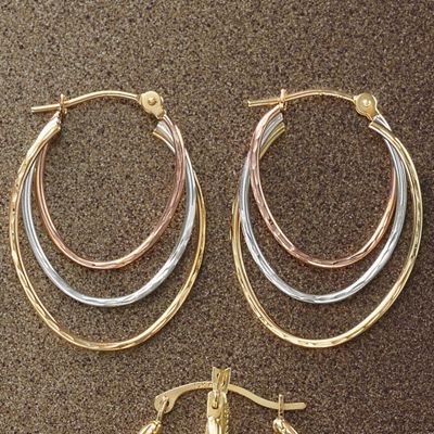 Gold Oval Tri-Color Hoops