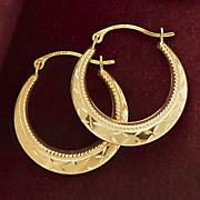 Gold Round Diamond-Cut Hoops