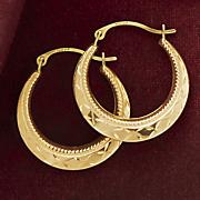gold round diamond cut hoops