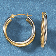 gold two tone double hoops