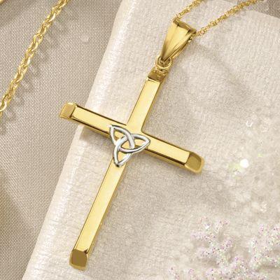 Gold Two-Tone Trinity Cross Pendant