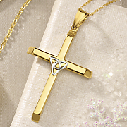gold two tone trinity cross pendant