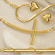 14k gold horizontal cross pendant
