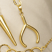 14k gold wishbone pendant