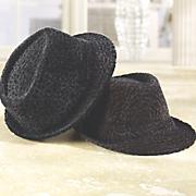 Flocked Fedora Hat