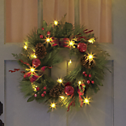 Apple Berry Checker Lit Wreath