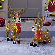 set of two lit reindeer