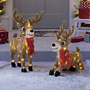 set of two lit reindeer