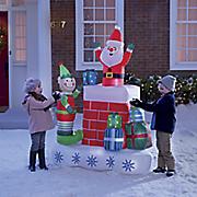 elf and santa chimney inflatable
