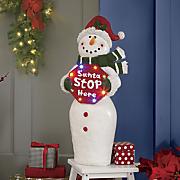 Santa Stop Here Snowman