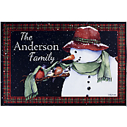 personalized snowman outdoor doormat