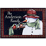 personalized snowman outdoor doormat