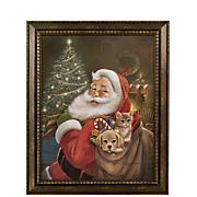 beaded frame santa art