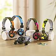 camo foldable headphones with microphone by polaroid