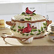 cardinal soup tureen   ladle