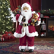 Jolly Animated Santa with Bear