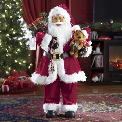 Jolly Animated Santa with Bear