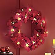 Lighted Poinsettia Wreath