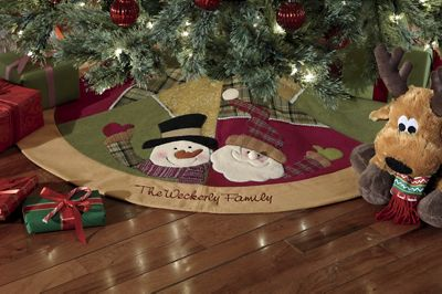 Personalized Snowman Patchwork Tree Skirt