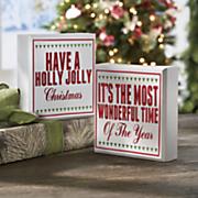 set of 2 festive wood signs