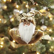 golden 3d santa ornament