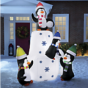 inflatable penguins on ice