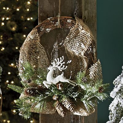 Burlap and Reindeer Wreath
