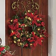 pre lit poinsettia wreath
