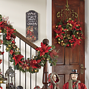 Pre-Lit Poinsettia Wreath and Garland