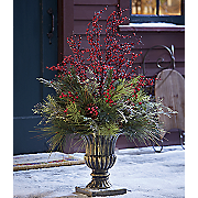 evergreen arrangement in urn