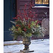 evergreen arrangement in urn