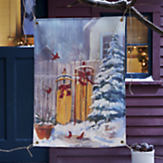 winter sleds outdoor hanging