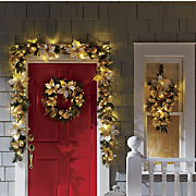 Gold Poinsettia Teardrop Swag Wreath and Garland