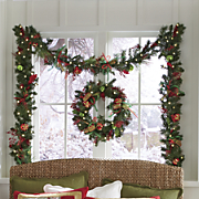 Lit Ornament Wreath and Garland